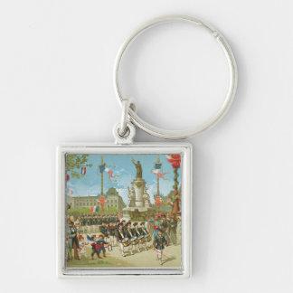 March-Past in the Place de la Republique Key Ring