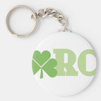 March Shamrock Basic Round Button Key Ring
