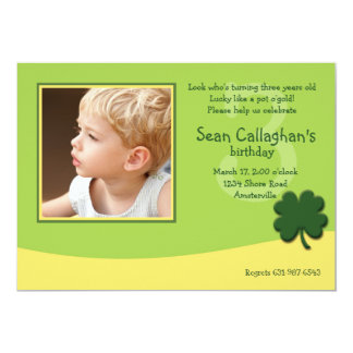 March Shamrock Photo Birthday  Invitation