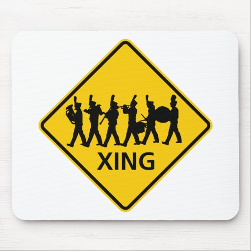Marching Band Crossing Highway Sign Mouse Pads