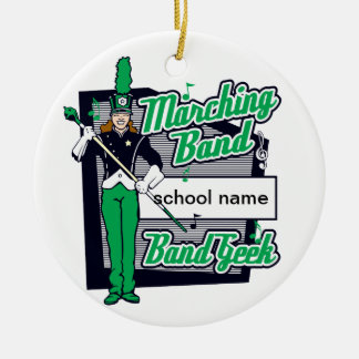 Marching Band Geek Green Round Ceramic Decoration