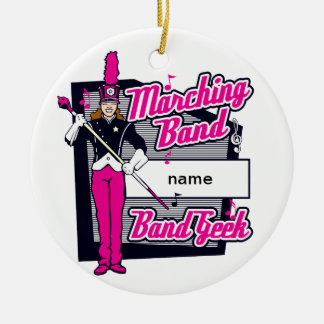 Marching Band Geek Pink Round Ceramic Decoration