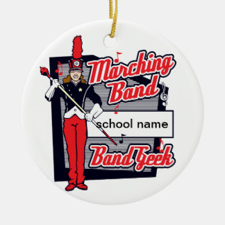 Marching Band Geek Red Round Ceramic Decoration