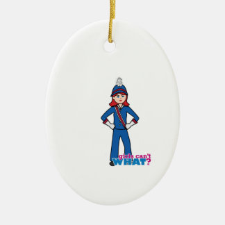 Marching Band Girl Light/Red Ceramic Oval Decoration