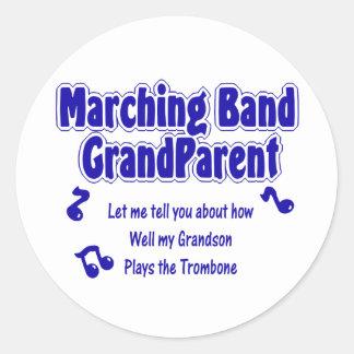 Marching Band Grandparent/ Trombone Classic Round Sticker