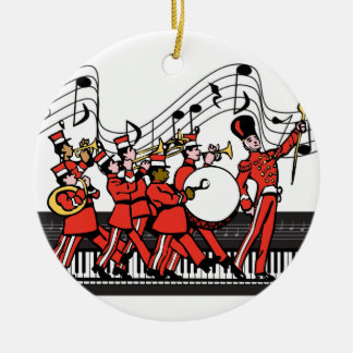 Marching Band Horns Piano Keyboard and Music Notes Round Ceramic Decoration
