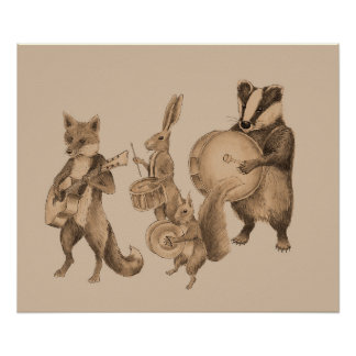Marching band of animals poster