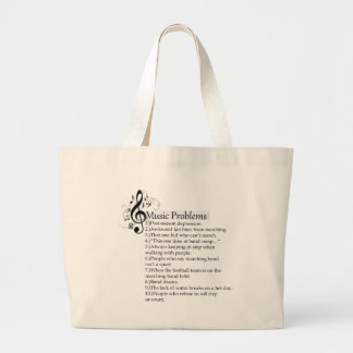Marching band problems list large tote bag