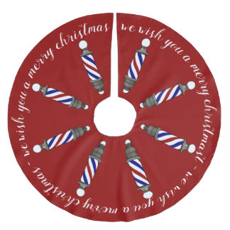 Marching Barberpoles Merry Christmas Brushed Polyester Tree Skirt