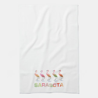 Marching Flamingos Sarasota Tea Towel