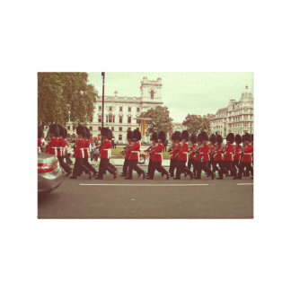 Marching guards at buckingham palace stretched canvas prints