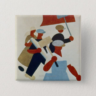 Marching Protestors 15 Cm Square Badge