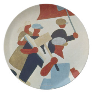Marching Protestors Plate
