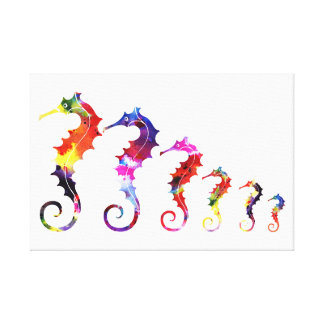 Marching Seahorses | vibrant & adorable Gallery Wrap Canvas