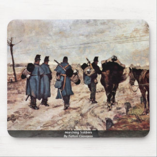 Marching Soldiers By Fattori Giovanni Mouse Pads