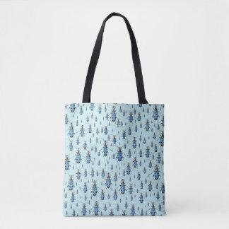 Marching Vintage Blue Beetles Pattern Tote Bag