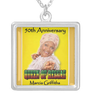 Marcia Griffiths the Reggae Queen-50th Anniversary Square Pendant Necklace