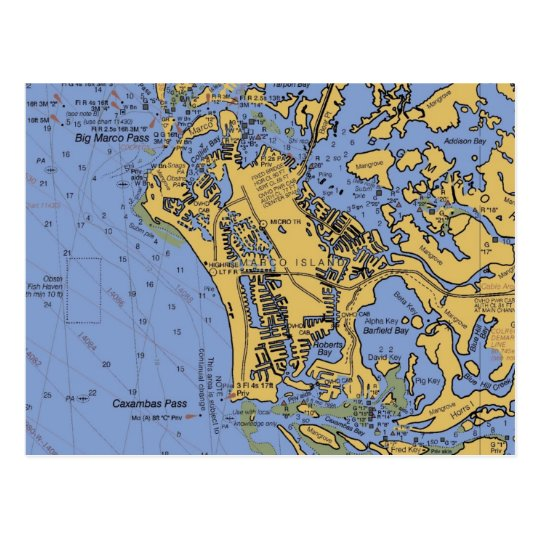 Marco Island, Florida Nautical Chart Postcard
