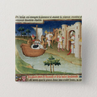 Marco Polo with elephants and camels arriving 15 Cm Square Badge