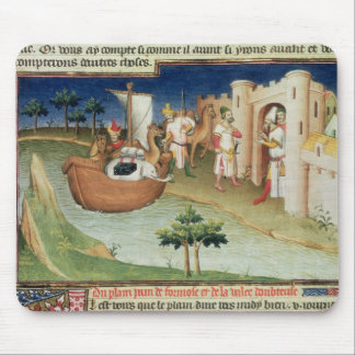 Marco Polo with elephants and camels arriving Mouse Pad