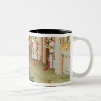 Marco Polo with elephants and camels arriving Two-Tone Coffee Mug
