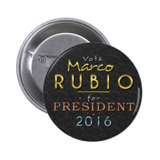 Marco Rubio President 2016 Gold Black Classy 6 Cm Round Badge