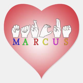 MARCUS   NAME ASL FINGER SPELLED HEART STICKER
