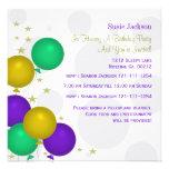 Mardi Gra Colour Balloons Party Invitations