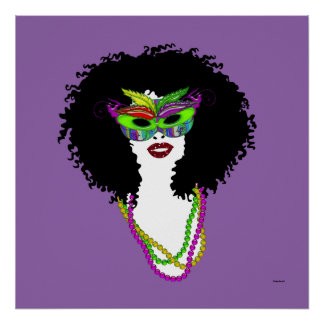 Mardi Gra Mask and Beads | Afro Hairstyle | Poster