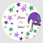 Mardi Gra Themed Save The Date Stickers