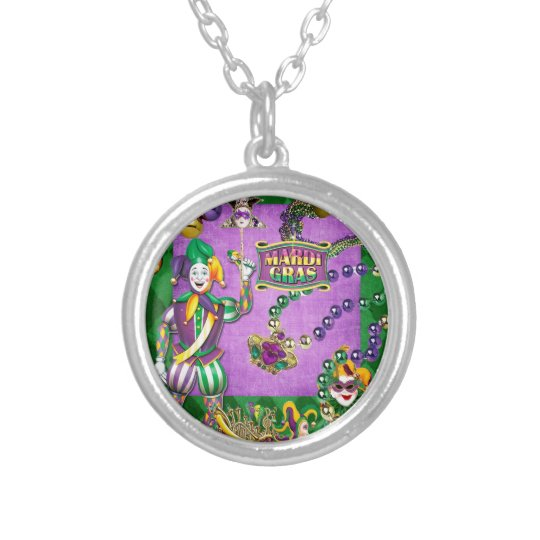 Mardi Gras 2014 Silver Plated Necklace