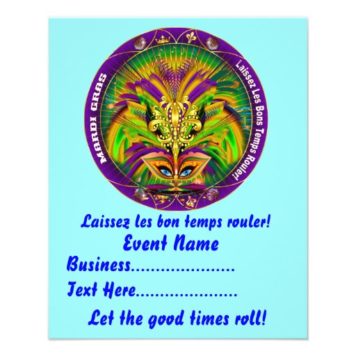 """Mardi Gras 4.5"""" x 5.6"""" Please View Notes Full Color Flyer"""