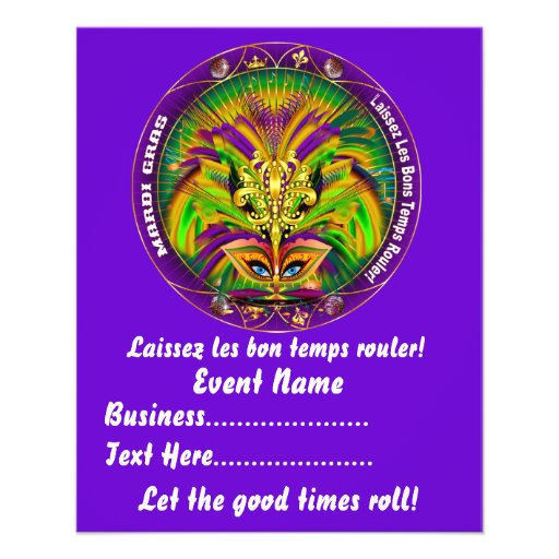 """Mardi Gras 4.5"""" x 5.6"""" Please View Notes Personalized Flyer"""