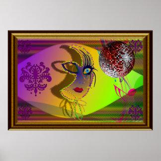 """Mardi Gras 58"""" x 40""""  Trompe l'oeil-V-1 Hi-Res Poster"""