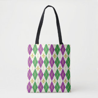Mardi Gras Argyle All-Over-Print Bag