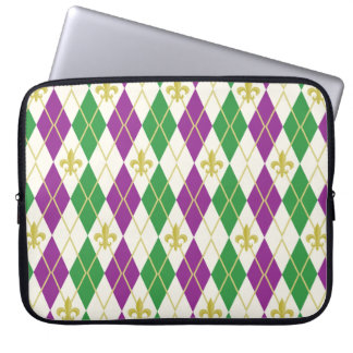 Mardi Gras Argyle Laptop Sleeve