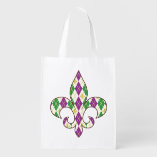 Mardi Gras Argyle Reusable Grocery Bag