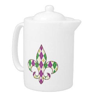 Mardi Gras Argyle Teapot