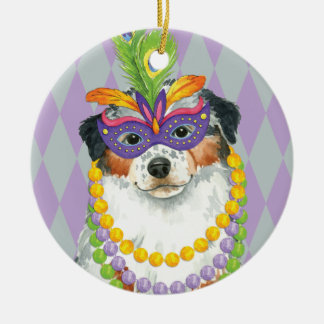 Mardi Gras Aussie Round Ceramic Decoration