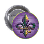 Mardi Gras bead Fleur de lis 2 6 Cm Round Badge