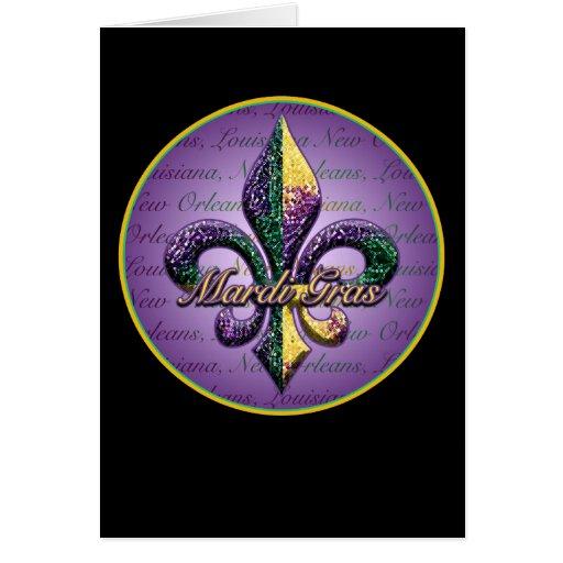Mardi Gras bead Fleur de lis 2 Cards