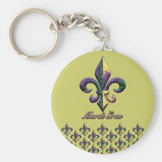 Mardi Gras bead Fleur de lis 2 Keychains