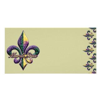 Mardi Gras bead Fleur de lis 2 Picture Card