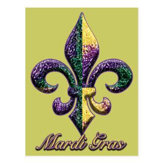Mardi Gras bead Fleur de lis 2 Postcard