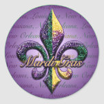 Mardi Gras bead Fleur de lis 2 Round Stickers