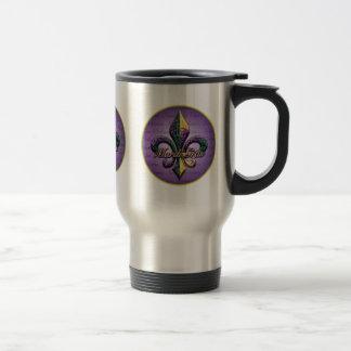 Mardi Gras bead Fleur de lis 2 Stainless Steel Travel Mug