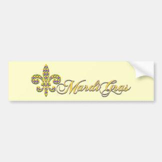 Mardi Gras bead Fleur de lis Bumper Sticker