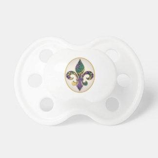 Mardi Gras Bead Fleur de lis Baby Pacifiers