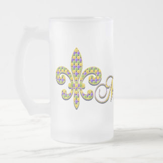 Mardi Gras bead Fleur de lis Frosted Glass Mug