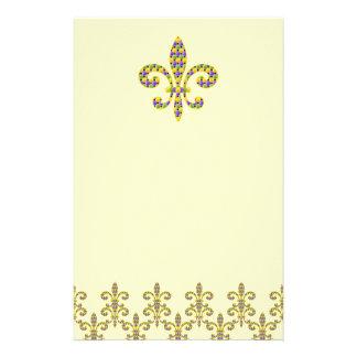 Mardi Gras bead Fleur de lis Personalized Stationery